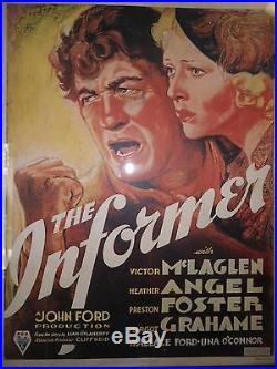 1935 Vintage John Ford (Director) Rare Movie Poster ('The Informer')