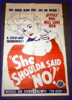1949 Vintage MOVIE POSTER- She Shoulda Said No aka WILD WEED Bad Girl RARE