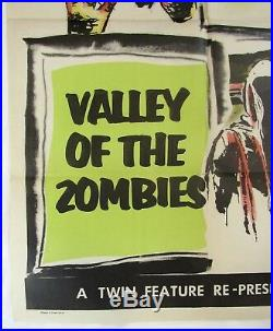 1956 VINTAGE HORROR Original Poster THE CATMAN OF PARIS & VALLEY OF THE ZOMBIES