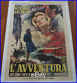 1960 L'Avventura ORIGINAL VINTAGE FRENCH MOVIE POSTER LINEN BACKED M. Antonioni