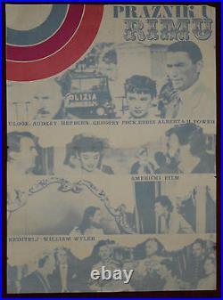 1960s ROMAN HOLIDAY Original Movie Poster Audrey Hepburn Gregory Peck Wi. Wyler