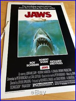 1975 JAWS VINTAGE HORROR MOVIE FILM POSTER PRINT Vintage