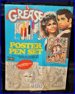 1978 Grease John Travolta Olivia Newton John vintage pen poster art set vintage