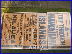 7FT PACIFIC ISLAND antique travel movie poster vtg hawaiian hula tiki surf art