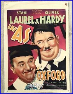 A CHUMP AT OXFORD original vintage movie poster Hal Roach Laurel & Hardy 1939