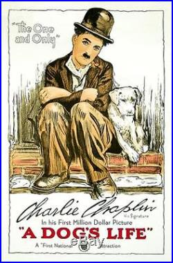 A Dog's Life Vintage Movie Poster Lithograph Charlie Chaplin S2 Art