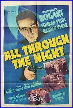All Through the Night Vintage UNUSED Movie Poster One Sheet Humphrey Bogart'41