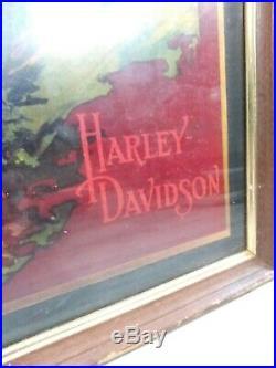 Antique Harley Davidson Poster Print Vtg Original 14x10 Motorcycle Picture Ad