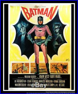 BATMAN ADAM WEST On Linen 4x6 ft Vintage Grande Movie Poster Original 1966
