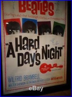 BEATLES Original Vintage Movie Music Poster A Hard Days Night Near Mint Linen