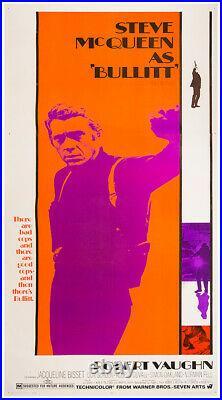 BULLITT (1968) Vntg orig three sheet poster Steve McQueen unrestored, bright FN