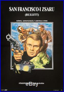BULLITT STEVE MCQUEEN Original Hungarian Vintage Movie Poster 1989