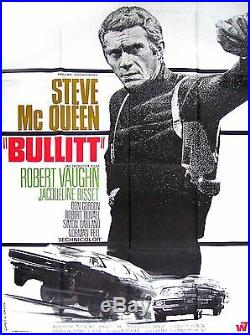 BULLITT STEVE McQUEEN ROBERT VAUGHN vintage movie poster 48x64