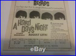 Beatles 1964 Hard Days Night La Area Movie Flyer Vg Tape Trim Tears Rare Vtg