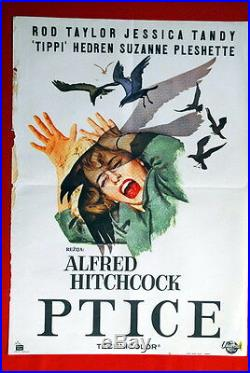 Birds Alfred Hitchcock 1963 Vintage Rare Exyugo Movie Poster