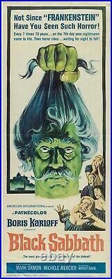 Black Sabbath Boris Karloff Original Insert Vintage Movie Poster Horror