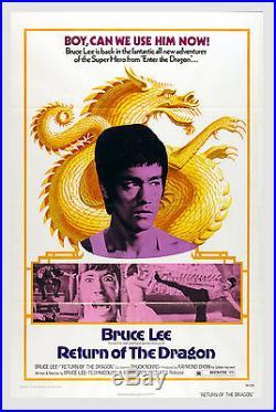 Bruce Lee Return of The Dragon 1974 Movie Vintage Original Poster 27x41 1 Sheet
