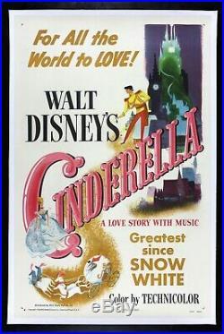 CINDERELLA CineMasterpieces 1950 DISNEY PRINCESS ORIGINAL VINTAGE MOVIE POSTER