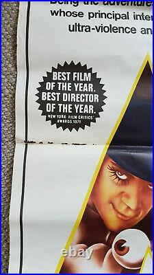 CLOCKWORK ORANGE Original Vintage Daybill Movie Poster Stanley Kubrick 1970s