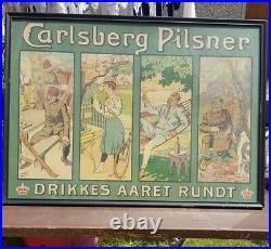 Carsten Ravn danish advert poster carlsberg pilsner beer vintage old pub picture