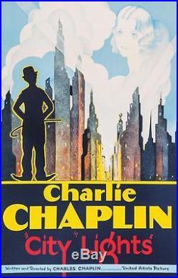 Charlie Chaplin City Lights Vintage Movie Poster Fine Art Lithograph COA S2