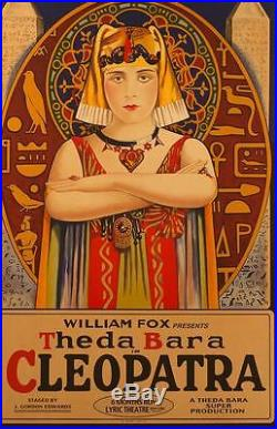 Cleopatra Vintage Movie Poster Lithograph Theda Bara Hand Pulled S2 Art