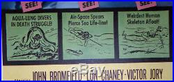 DEEP SEA SCUBA DIVING original 1956 14x36 movie poster LON CHANEY JR/MANFISH