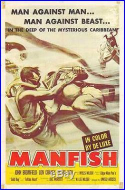 DEEP SEA SCUBA DIVING original 1956 one sheet movie poster LON CHANEY JR/MANFISH