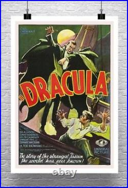 Dracula Vintage Horror Movie Poster Rolled Canvas Giclee Print 24x36 in