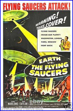 EARTH VS. FLYING SAUCERS UFO, Vintage Movie Reproduction CANVAS PRINT 24x36