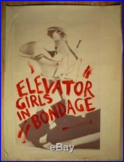 ELEVATOR GIRLS IN BONDAGE rare vintage queer cinema 1 sheet theatrical poster