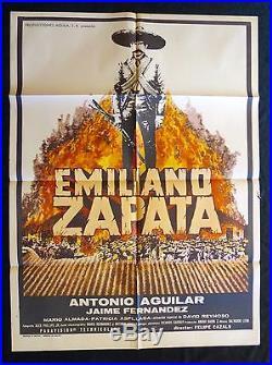 EMILIANO ZAPATA Antonio Aguilar VINTAGE 1970 MEXICAN MOVIE POSTER N MINT