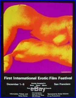 FIRST INTERNATIONAL EROTIC FILM FESTIVAL 1971 poster PAUL KAGAN 20x26.5 RARE