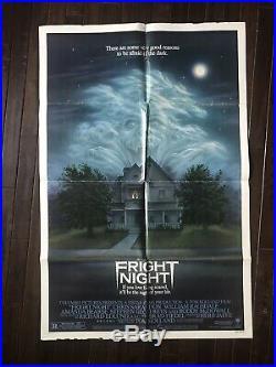 FRIGHT NIGHT 1985 ORIGINAL VINTAGE MOVIE POSTER VF GOOD 27 41 1 One SHEET