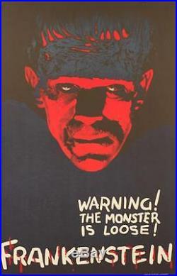 Frankenstein Teaser Vintage Movie Poster Lithograph Boris Karloff Hand Pulled S2