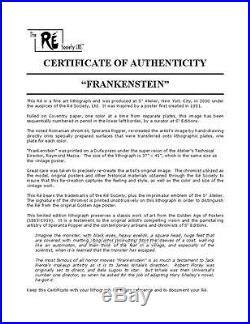 Frankenstein Vintage Movie Poster Lithograph Boris Karloff Hand Pulled S2 Art