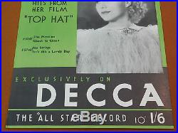 GINGER ROGERS Decca Film Star TOP HAT Vintage 1935 Art Deco Poster Movie Record