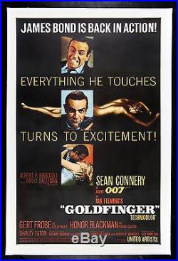 GOLDFINGER CineMasterpieces JAMES BOND 007 VINTAGE ORIGINAL MOVIE POSTER 1964