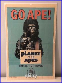 GO APE Vintage 1974 Planet Apes CBS FOX Rare MOVIE POSTER kitsch art low brow