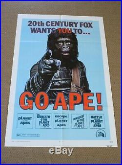 GO APE! Vintage 1974 Planet Of The Apes 20th Century Fox Films Rare MOVIE POSTER
