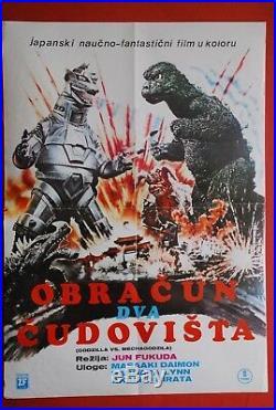 Godzilla Vs Mechagodzilla Sci-fi Toho 1974 Vintage Rare Exyugo Movie Poster