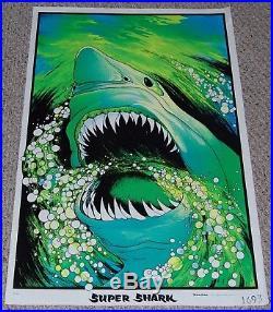 Great White SUPER SHARK Jaws Velva Flocked Blacklight ...