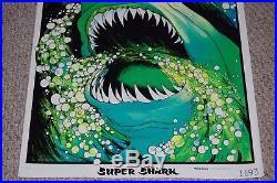 Great White SUPER SHARK Jaws Velva Flocked Blacklight Poster 1975 AA Sales