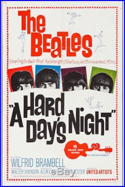 Hard Day's Night Beatles Original Vintage Movie Poster One Sheet
