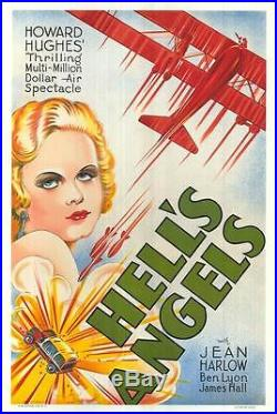 Hell's Angels Vintage Movie Poster Fine Art Lithograph Jean Harlow S2