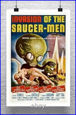 Invasion Of The Saucer Men Vintage Sci-Fi Movie Poster Canvas Giclee 24x36 in