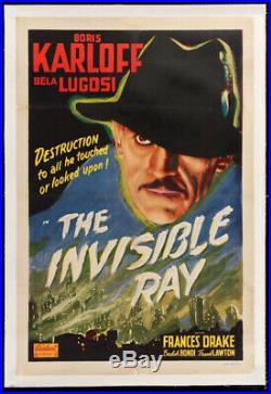 Invisible Ray Vintage Horror Movie Poster Boris Karloff Lugosi