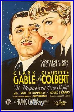 It Happened One Night Clark Gable Vintage Movie Poster Lithograph Hand Pulled S2