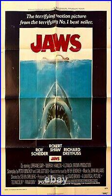 JAWS 1975 Vintage Original One-Sheet Movie Poster RARE