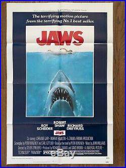 JAWS (1975) Vintage Original Unrestored Folded One-Sheet Poster VF+ CONDITION
